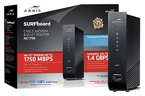 ARRIS SURFboard Docsis 3 0 Cable Modem/AC1750 WiFi Router/2
