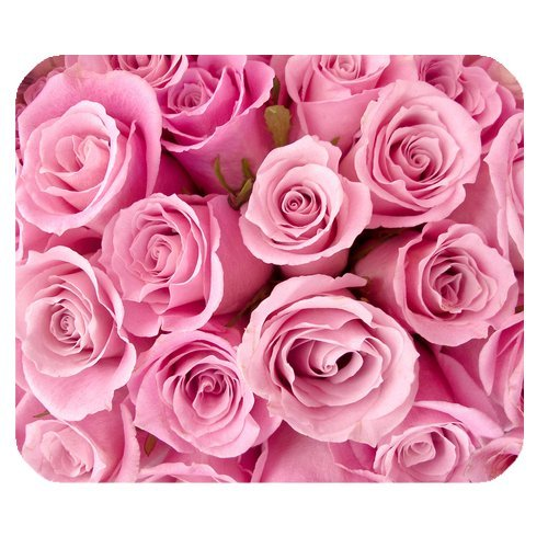 Pink Rose Rectangle Non-Slip Rubber Mouse Pad Mousepad Mat
