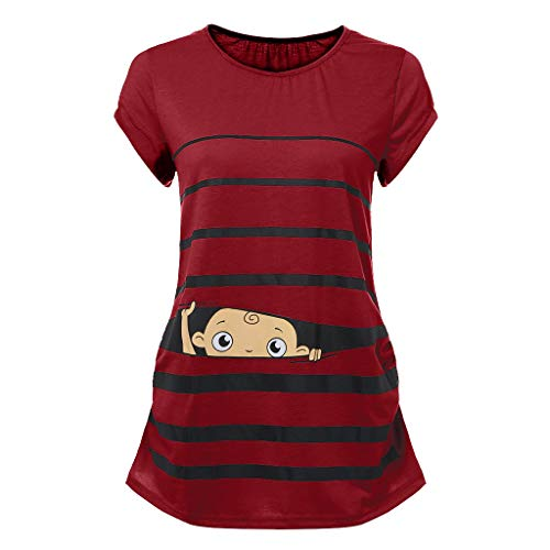 Woman Maternity T-Shirt,Stripe Baby Print Short Sleeve Ruched Side Top, Pregnancy Funny Fashion Style Blouse Red, XL