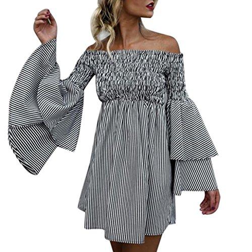 21e00d7da2e28 Wobuoke Women's Holiday Off Shoulder Stripe Bohemian Party Ladies Casual  Dress Long Sleeve Dress