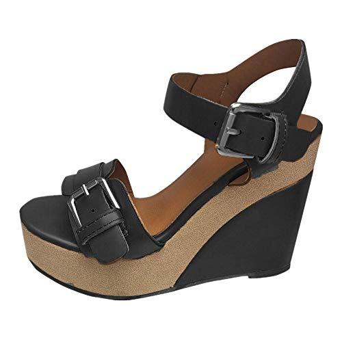 Women's Wedge Sandals Summer Buckle Strap Open Toe Platform High Heels Ankle Strap Pumps Shoes Black -3, US:7.5