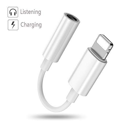Luvfun Headphone Jack Adapter, 2 in 1 Audio Adaptor to 3.5mm Headset Support Audio+Charging Headphone Adapter for iPhone x/8/8Plus/7/7Plus Aux Cable Adapter-White