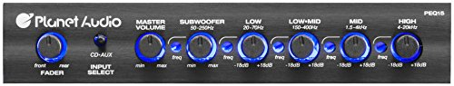 Planet Audio Half-DIN, Band Car Equalizer, Subwoofer Output with Adjustable Filter, Fixed Bands