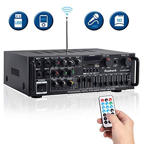 2 Channel Stereo Sound Audio Receiver -w/ R&L Channel EQ Adjustment, USB/SD, RCA, 4 MICS Input for Home Theater Speaker w/Echo. AV326BT – Sunbuck 600W Karaoke Wireless Bluetooth Power Amplifier System
