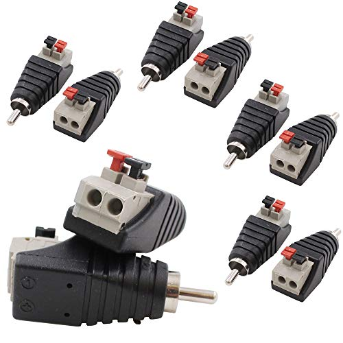 10-Pack Speaker Wire Cable to Audio Male RCA Connector Adapter Plug Jack