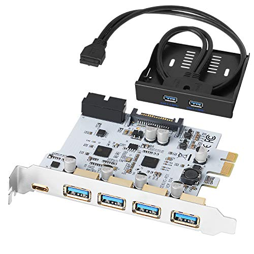 QNINE 5 Ports PCIe USB 3.0 Card 20 pin, 4 x USB A + 1 x USB C, USB 3.0 PCIe Expansion Card Include a USB 3.0 Front Panel Expansion Bay and 2 Power Cables