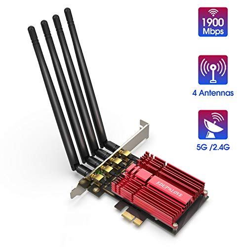 Wireless WiFi Network Card AC1900 PCI Express Adapter PCIe Wi-Fi Dongle 1900Mbps 2.4G 5G Dual Band 5dBi Antennas 802.11ac for Desktop with Windows 7/8.1/10