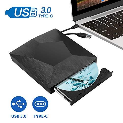 MMUSC External CD DVD Drive,Type C USB 3.0 Slim Portable External CD DVD Rewriter Burner Writer,High Speed USB Optical Drives Player Compatible with Mac/MacBook Pro/Air/iMac/Laptop/Windows10