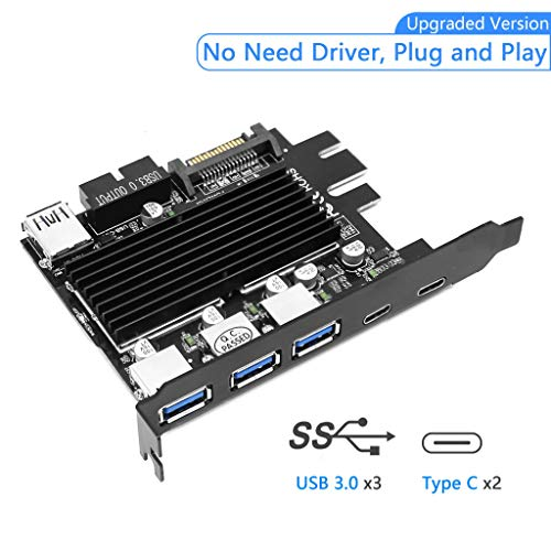 No Driver Need 5Gps USB 3.0 PCIE Expasion Card USB C PCIE Expansion Card with 15-Pin SATA Power Connector and 19-Pin USB 3.0 Cable for PC Plug and Play Data From 3.0 Header ,Power From Sata Power