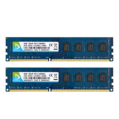 DUOMEIQI 8GB Kit 2 X 4GB DDR3 1333MHz DIMM PC3-10600 PC3-10600U 2RX8 CL9 1.5v 240 PIN Non-ECC Unbuffered Desktop Memory RAM Module Compatible with Intel AMD System