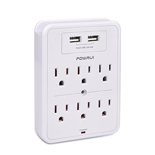 Surge Protector, POWRUI USB Wall Charger with 2 USB charging portssmart 2.4A Total, 6-Outlet Extender and Top Phone Holder for Your Cell Phone, White, ETL Listed