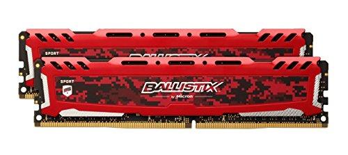 Crucial Ballistix Sport LT 3200 MHz DDR4 DRAM Desktop Gaming Memory Kit 16GB 8GBx2 CL16 BLS2K8G4D32AESEK Red