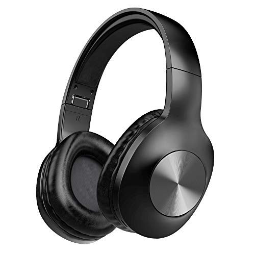 Bluetooth Headphones, LETSCOM Wireless Headphones Over Ear with Hi-Fi Sound Mic Deep Bass, 100 Hours Playtime and Soft Memory Protein Earpads for Travel Work TV PC Cellphone – Black
