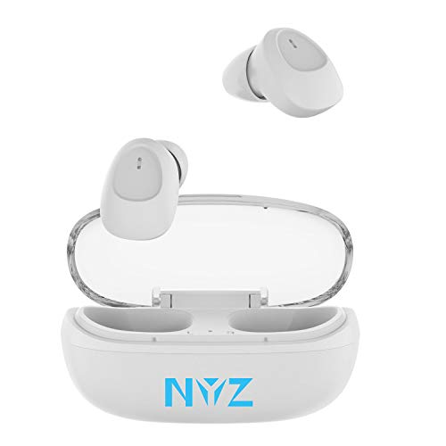 Wireless Earbuds, NYZ True Wireless Bluetooth Headphones in-Ear Earphones HiFi Stereo Volume Control Cordless Earbuds with Microphone Portable Charging Case for iPhone,Android,Windows Space Series