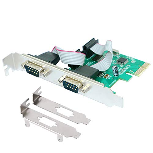 ELIATER PCIE 2 Port Serial Expansion Card PCI Express to Industrial DB9 RS232 COM Port Adapter WCH382 Chip for Desktop PC with Low Bracket