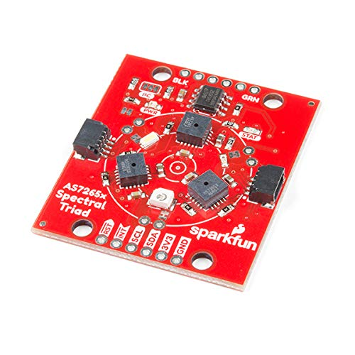 SparkFun Triad Spectroscopy Sensor – AS7265x Optical inspection breakout Combines visible UV IR LEDs with three spectral sensors Vcc 3.3V Qwiic I2C Serial Breadboardable or No Soldering Required
