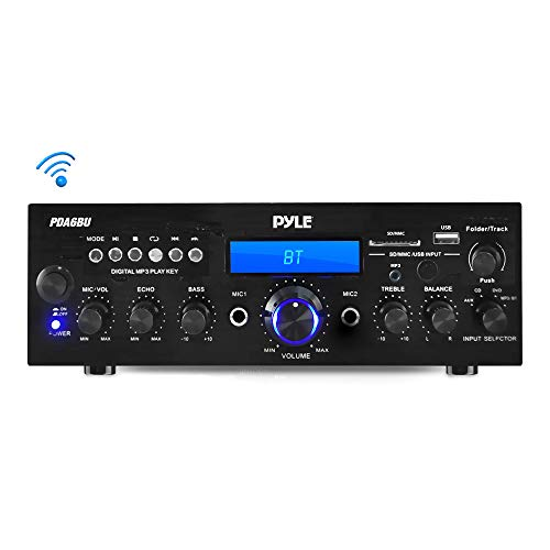 Desktop Audio Power Amp Receiver with FM Radio, MP3/USB/SD Readers, Digital LCD Display, Microphone Input 200 Watt – Compact Bluetooth Stereo Amplifier